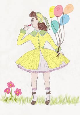 Balloon Flower Drawing - All Dressed Up by Rosalie Scanlon