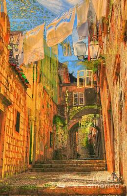 Alley In Croatia Art Print by Alberta Brown Buller