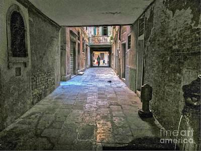 Walkway Digital Art - Alley In Venice by Alberta Brown Buller