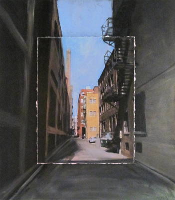 Alley With Red And Tan Buildings Layered Art Print by Anita Burgermeister