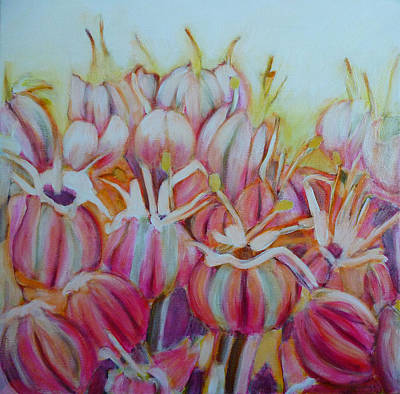 Abstract Realist Landscape Painting - Allium Flower by Sandrine Pelissier