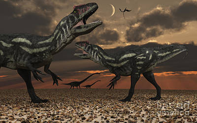 Allosaurus Dinosaurs Stalk Their Next Art Print by Mark Stevenson