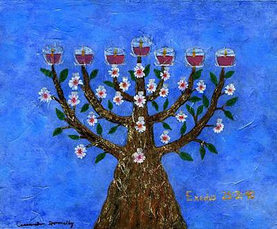 Almond Blossom Menorah Lampstand Art Print by Cassandra Donnelly
