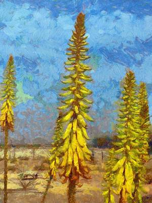 Aloe Vera Painting - Aloe Vera Flowers by Balram Panikkaserry