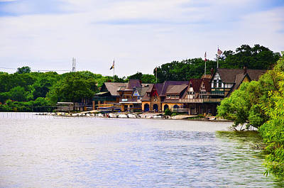 Boat Along The River Photograph - Along The Schuylkill River At Boat House Row by Bill Cannon