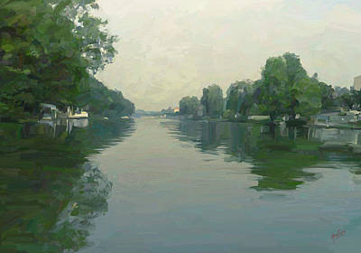 Briex Painting - Along The Seine by Nop Briex
