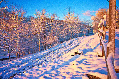 Snow Covered Trees Digital Art - Along The Way Home by Betsy Knapp