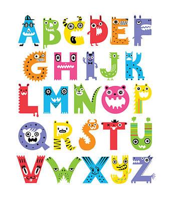 Hand Drawn Digital Art - Alphabet Monsters by Andi Bird