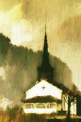 Art Print featuring the digital art Alpine Church by Andrea Barbieri