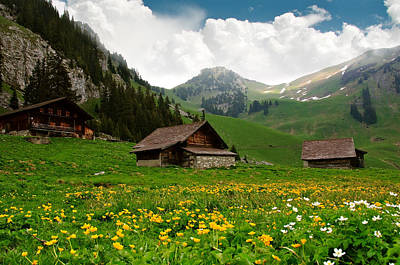 Alpine Huts - Switzerland Art Print by Kitty Bern