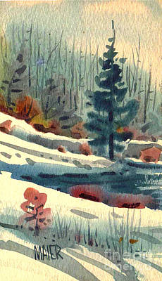 Winter Watercolor Painting - Alpine Meadow by Donald Maier