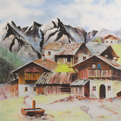 Pastel - Alpine Village by Paul Cubeta