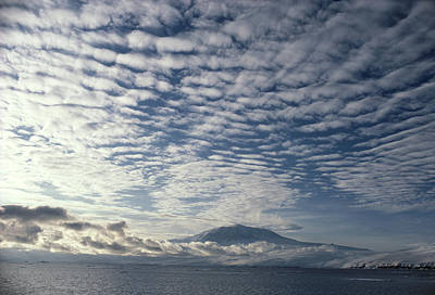 Erebus Photograph - Altocumulus Cloud Cover Over Mt Erebus Volcano by Doug Allan.