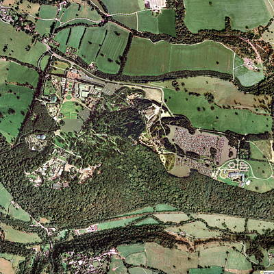 Rollercoaster Photograph - Alton Towers Amusement Park, Aerial Image by Getmapping Plc