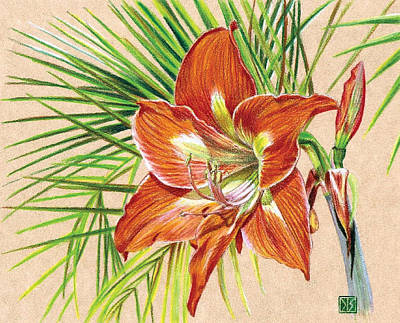 Amaryllis Drawing - Amaryllis And Palms by Dl Street