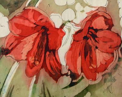 Amaryllis Watercolor Painting - Amaryllis By Morning by Marlene Petersen