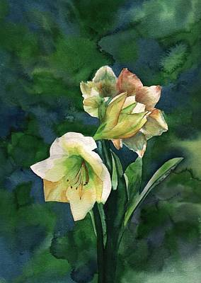 Art Print featuring the painting Amaryllis by Sharon Mick