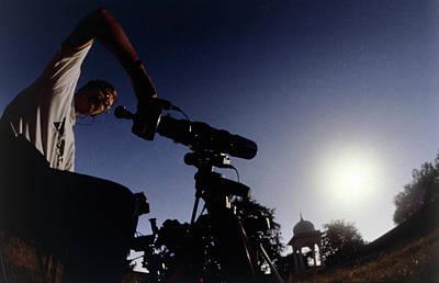 Amateur Astronomer Observing A Solar Eclipse Art Print by Dr Fred Espenak