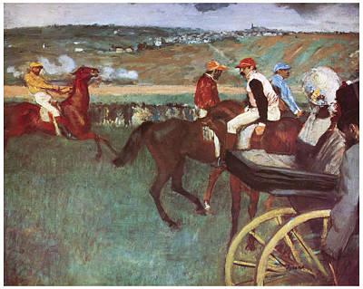 Horserace Painting - Amateur Jockeys On The Course by Edgar Degas