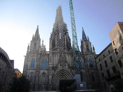 Photograph - Amazing Cathedral With Work In Progress Renovation Barcelona Spain by John Shiron