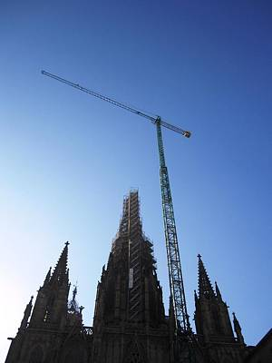 Photograph - Amazing Cathedral With Work In Progress Renovation II Barcelona Spain by John Shiron
