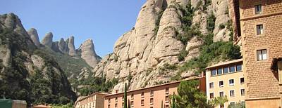 Photograph - Amazing Montserrat Mountain Rock Encapsulated Buildings IIi Near Barcelona Spain by John Shiron
