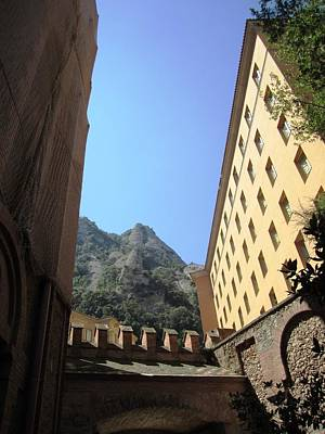 Photograph - Amazing Montserrat Mountain Rock Encapsulated Buildings Iv Near Barcelona Spain by John Shiron