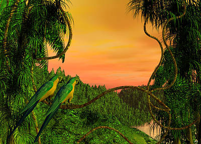Digital Art - Amazon Sunset by Walter Colvin