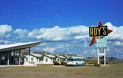 Cafe Photograph - Amboy With Bus by Matthew Bamberg