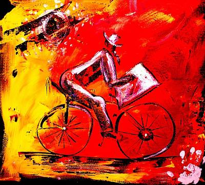 Backwards Painting - America Got Talent- Painting While Riding Backeards by Artist Singh
