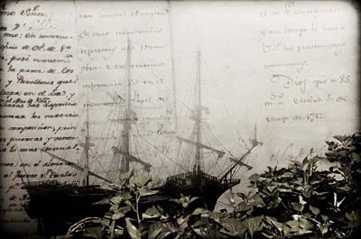 america link history - a XVIII galleon lost in ocean of words Art Print