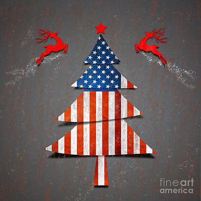 Christmas Digital Art - America X'mas Tree by Atiketta Sangasaeng