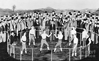 Folk Art Boxer Photograph - American Boxing, C1860 by Granger