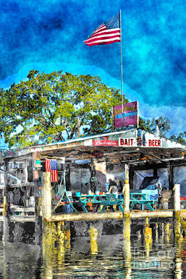 Art Print featuring the photograph American Flag At Bait Shop by Dan Friend