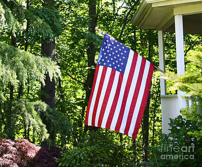 Art Print featuring the photograph American Flag At Home by Denise Pohl