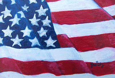 Flag Painting - American Flag by Paintings by Gretzky
