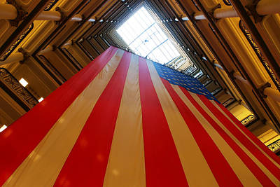 American Flag In Marshall Field's Art Print by Paul Ge