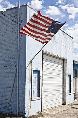 American Flag On An Abandoned Building Art Print