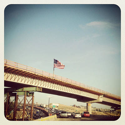 Y120817 Photograph - American Flag On Highway Overpass by ©Natasha Japp Photography