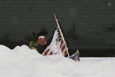 War Monuments And Shrines Photograph - American Flags And A Rose Commemorate by Karen Kasmauski