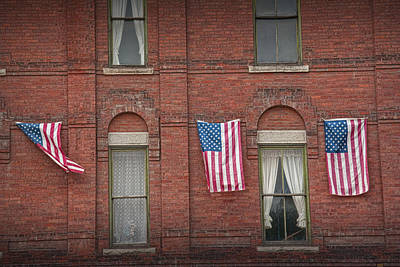 Landmarks Royalty Free Images - American Flags in Vermont Royalty-Free Image by Randall Nyhof