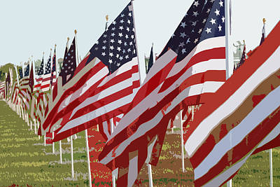 Star Spangled Banner Digital Art - American Flags by Peter  McIntosh
