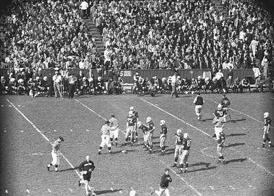American Football Match, (b&w), Elevated View Art Print by George Marks