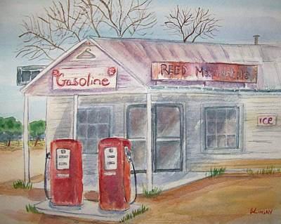 Painting - American Gas Station by Belinda Lawson