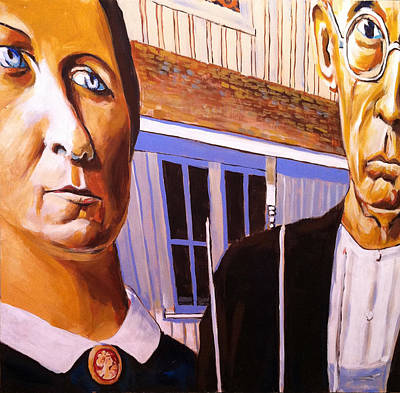 People Mixed Media - American Gothic by Buffalo Bonker