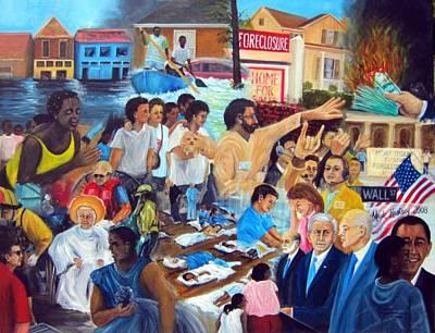 George Bush Painting - American History Katrina Financial Meltdown by Leonardo Ruggieri