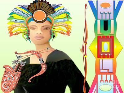 Self-portrait Mixed Media - American Indian  by Belinda Threeths