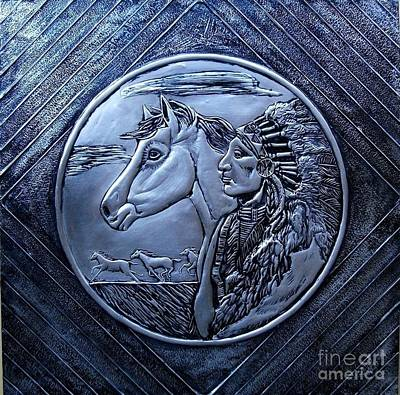 Metal Embossing Relief - American Indian by Cacaio Tavares