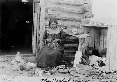 Indian Basket Photograph - American Indian Woman Making A Basket by Everett