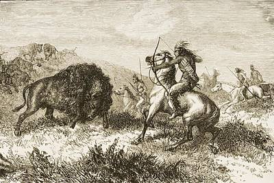 American Indians Buffalo Hunting. From Art Print by Ken Welsh